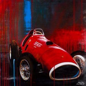 Oil painting Ferrari 500 F2 Rennwagen